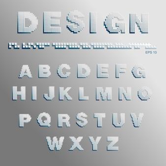 Alphabet consisting of pixels