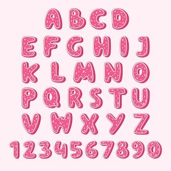 알파벳 쿠키 음식 핑크 색상 맛있는 쿠키 유약 일러스트 절연 질감 문자로 설정