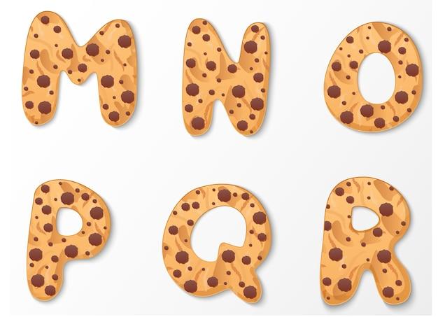 Alphabet on cookies design