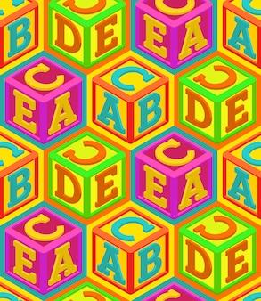 Alphabet cubes seamless pattern