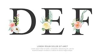 Alphabet D E F flower watercolor.