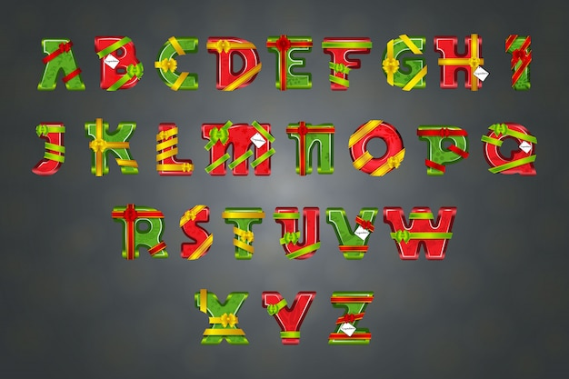 Alphabet decorated by ribbons and bows