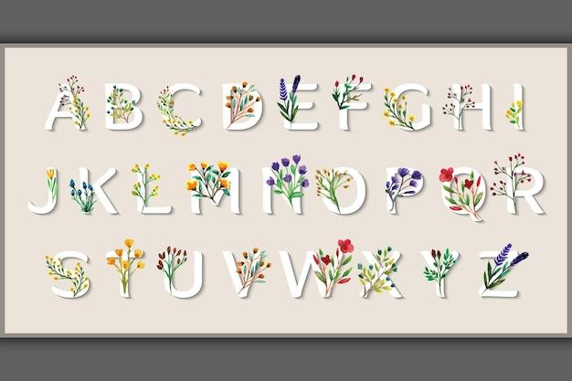 Alphabet design watercolor wild flower