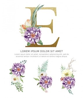 Alphabet e bouquet flower and leaves collection watercolor.