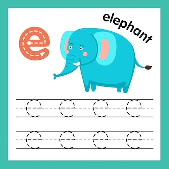 Alphabet e exercise with cartoon vocabulary illustration, vector
