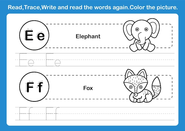 Alphabet e-f exercise with cartoon vocabulary for coloring book