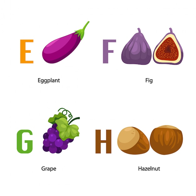 Alphabet e-h letter