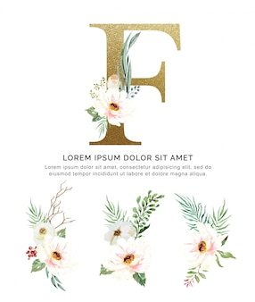 Alphabet f with bouquets flower collection watercolor.