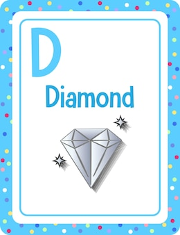 Alphabet flashcard with letter d for diamond