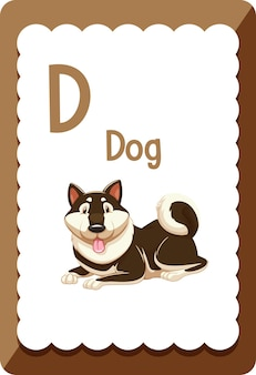 Alphabet flashcard with letter d for dog