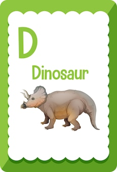 Карточка с алфавитом d для динозавра