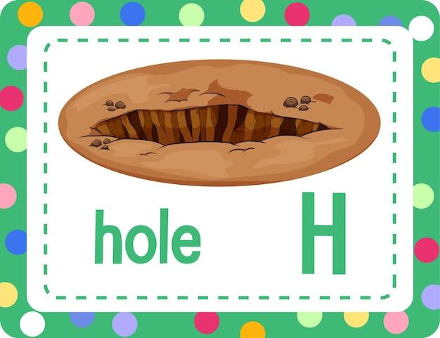 Flashcard alfabeto con la lettera h per hole