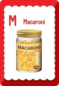 マカロニの文字 m のアルファベット フラッシュ カード