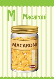 마카로니를위한 문자 m이있는 알파벳 플래시 카드
