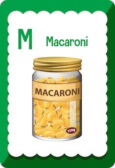 マカロニの文字mのアルファベットのフラッシュカード 無料ベクター