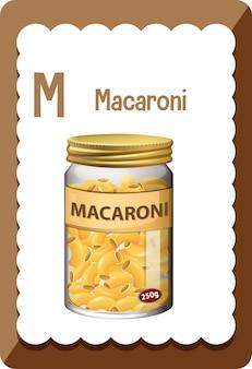 마카로니에 대한 문자 m이 있는 알파벳 플래시 카드