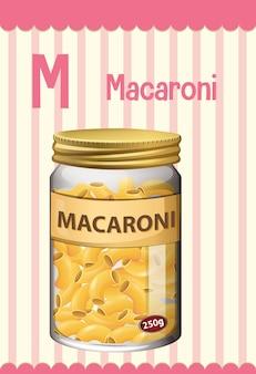 マカロニの文字mのアルファベットのフラッシュカード