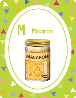 Alphabet flashcard with letter m for macaroni