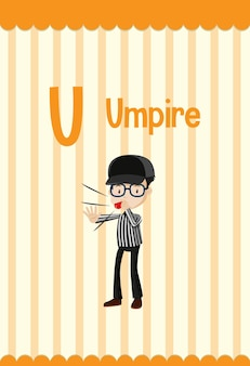 Alphabet flashcard with letter u for umpire