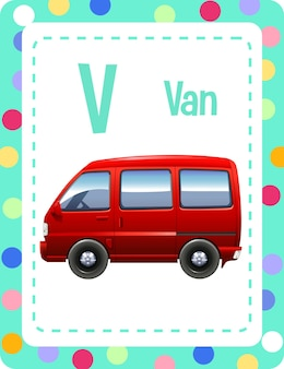 Alphabet flashcard with letter v and van