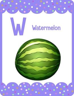 Карточка с алфавитом и буквой w для арбуза