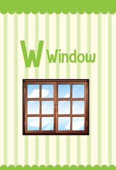 창에 대한 문자 w가 있는 알파벳 플래시 카드