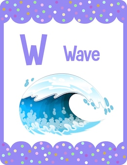 Alphabet flashcard with letter w for wave