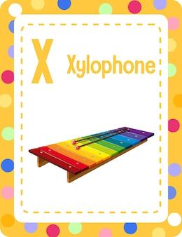 Карточка с алфавитом и буквой x для ксилофона