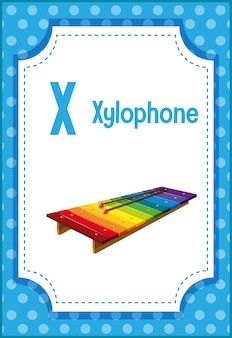 Alphabet flashcard with letter x for xylophone