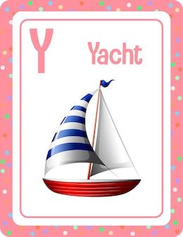 Flashcard dell'alfabeto con la lettera y per yacht
