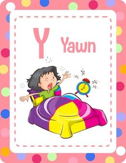 Flashcard dell'alfabeto con la lettera y per yawn