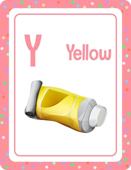 Alphabet flashcard with letter y for yellow