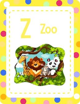 동물원에 대한 문자 z가 있는 알파벳 플래시 카드