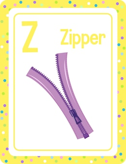 Alphabet flashcard with letter z for zipper