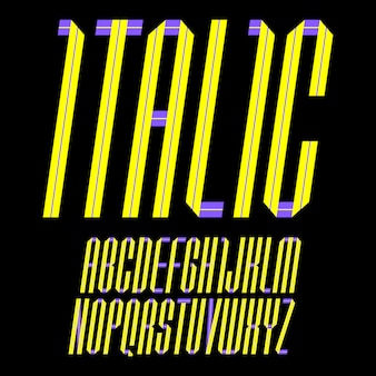 Alphabet folded of paper tape. italic font