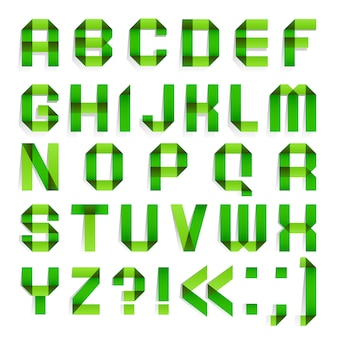 Alphabet folded paper