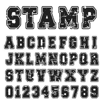알파벳 글꼴 검은 스탬프 디자인