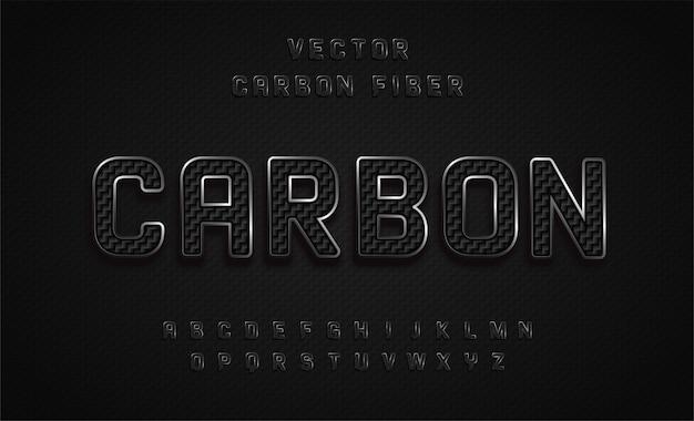 Алфавитный шрифт, эффект углерода