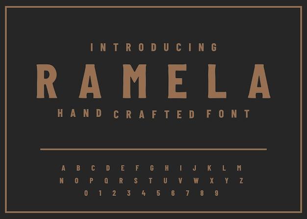 알파벳 글꼴 손으로 만든 포도 수확 디스플레이 인쇄술