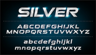 Alphabet font. Metallic, silver effect italic letters. ABC, Lowercase and uppercase