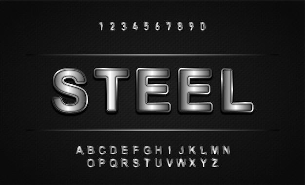 Алфавит шрифт. металлик, эффект серебра
