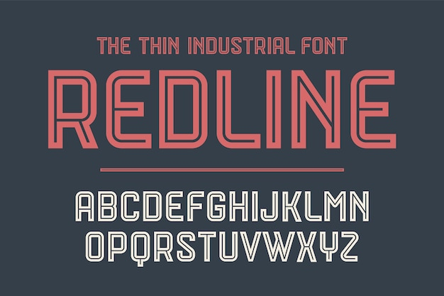 Alphabet and font red line. bold, regular and medium uppercase letters. strong trendy industrial inline font for creative design, advertising, typographic.