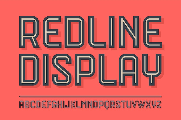 Alphabet and font red line display with shadow. bold, regular and medium uppercase letters. trendy industrial inline font for creative design, advertising, typographic.