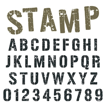 Alphabet font stamp army design