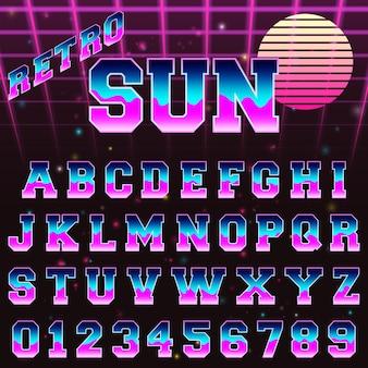 Alphabet font template retro 80s design
