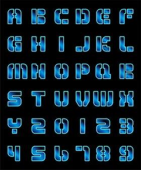 Алфавит шрифт прозрачного стекла неоновый дизайн шаблона на черном фоне.