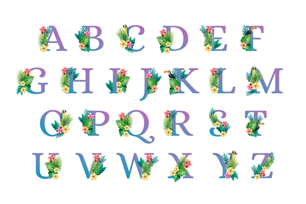 Alphabet font uppercase letters with flowers