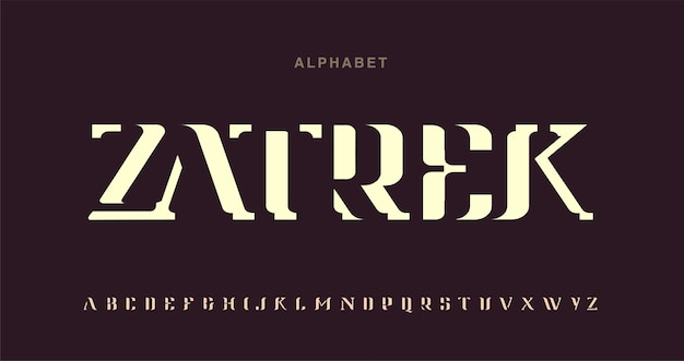 Alphabet font with negative space. post modern minimalist typography design