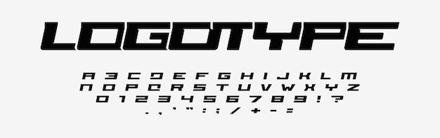 Алфавит для логотипов, широкие буквы, цифры и знаки препинания, курсивный шрифт, минимальный дизайн для современного