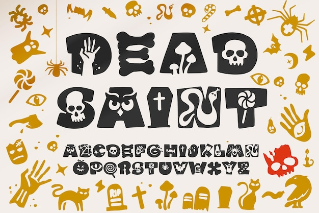 ハロウィーンパーティーのデザインのアルファベット。有名な比喩パターンの手描きのレタリング。